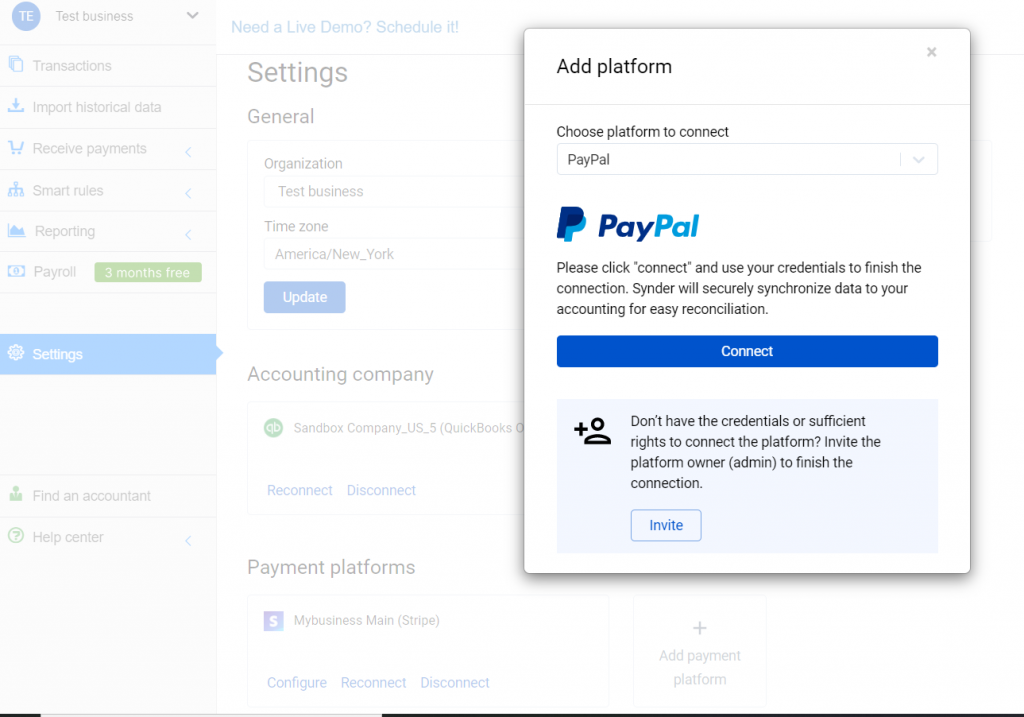 Select PayPal in the dropdown and hit the Connect button.