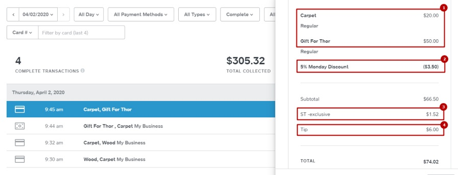 Square transaction is imported into QuickBooks with all the details
