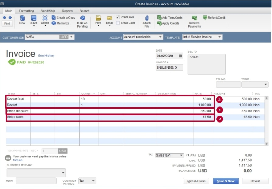 Stripe transaction is imported into QuickBooks Desktop with all the details